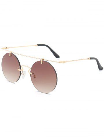 Discount Mirror Straight Long Crossbar Round Rimless Sunglasses - TEA-COLORED  Mobile