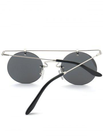 Affordable Mirror Straight Long Crossbar Round Rimless Sunglasses - SILVER  Mobile