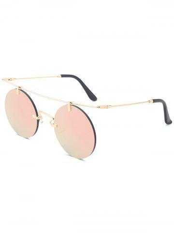 Outfits Mirror Straight Long Crossbar Round Rimless Sunglasses - PINK  Mobile