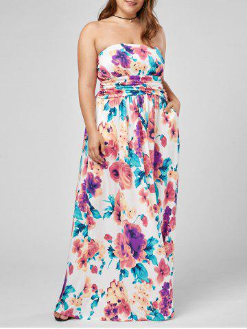 Outfits Plus Size Strapless Floral Maxi Formal Dress MULTI 3XL