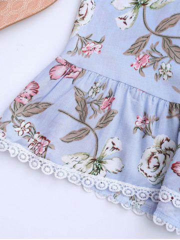 Discount Floral Lace-up Camis and High Waisted Shorts - S WINDSOR BLUE Mobile