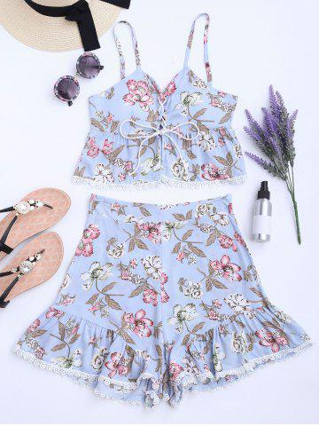 Shops Floral Lace-up Camis and High Waisted Shorts - S WINDSOR BLUE Mobile