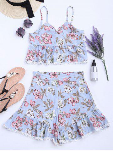 Outfit Floral Lace-up Camis and High Waisted Shorts - S WINDSOR BLUE Mobile