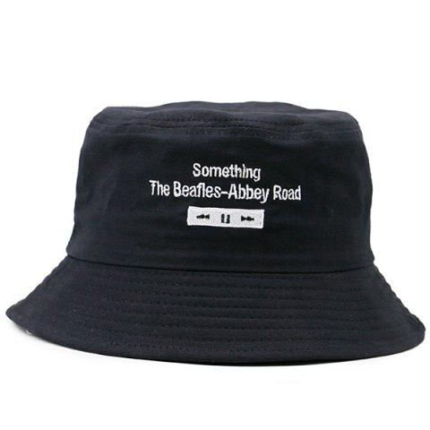 Unique Letters Embroidered Flat Top Bucket Cap