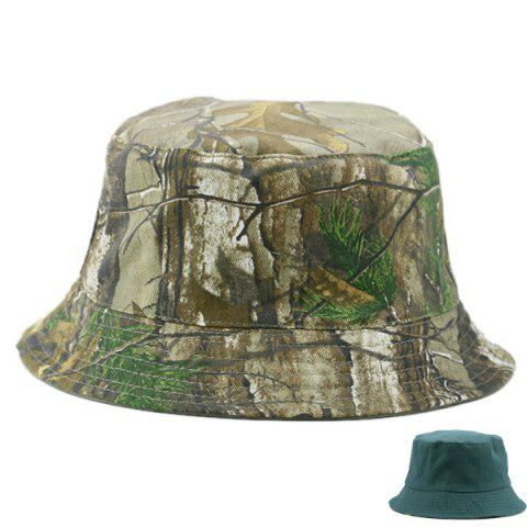 Cheap Reversible Camo with Solid Color Bucket Hat BLACKISH GREEN