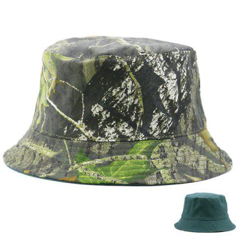 Affordable Camouflage with Pure Color Reversible Bucket Hat BLACKISH GREEN