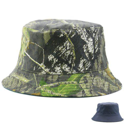 New Camouflage with Pure Color Reversible Bucket Hat STONE BLUE