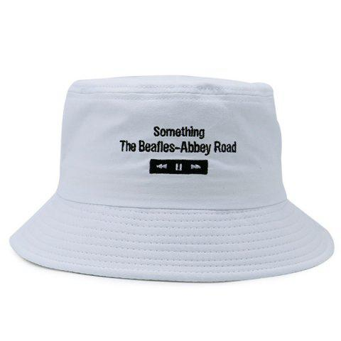 Store Letters Embroidered Flat Top Bucket Cap WHITE