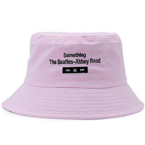Shop Letters Embroidered Flat Top Bucket Cap LIGHT PINK