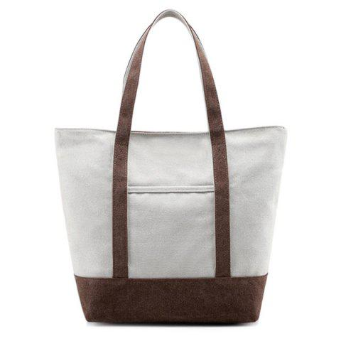 Shops Top Zipper Canvas Tote - BROWN  Mobile
