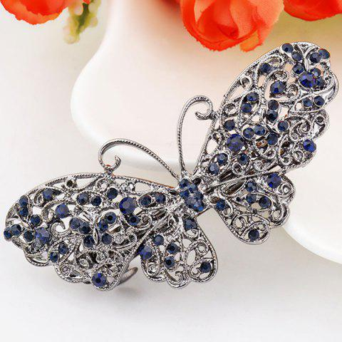 Sale Alloy Hollow Out Butterfly Faux Sapphire Barrette - BLUE  Mobile