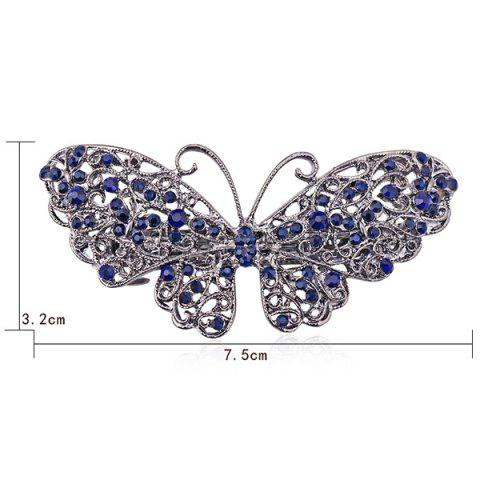 Buy Alloy Hollow Out Butterfly Faux Sapphire Barrette - BLUE  Mobile