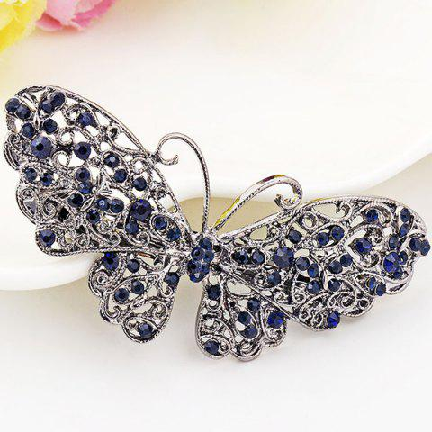 Shops Alloy Hollow Out Butterfly Faux Sapphire Barrette - BLUE  Mobile