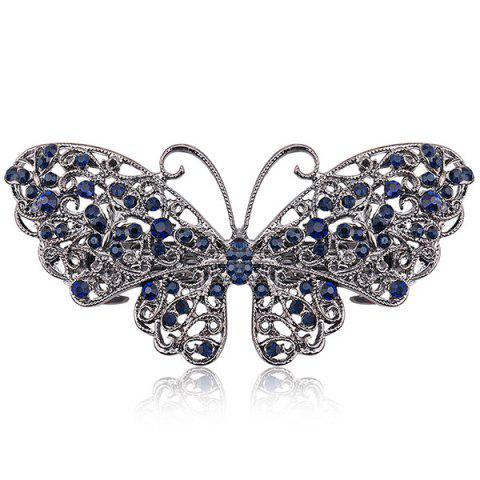 Fashion Alloy Hollow Out Butterfly Faux Sapphire Barrette - BLUE  Mobile