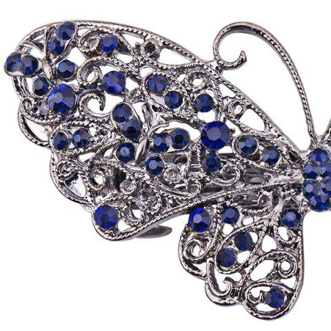Trendy Alloy Hollow Out Butterfly Faux Sapphire Barrette - BLUE  Mobile