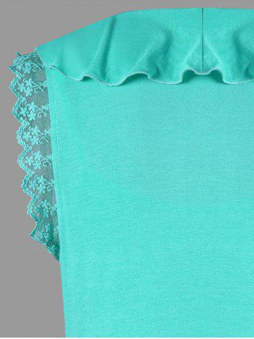New Ruffle Trim High Low T-shirt with Camisole - M MINT Mobile