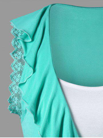 Cheap Ruffle Trim High Low T-shirt with Camisole - M MINT Mobile