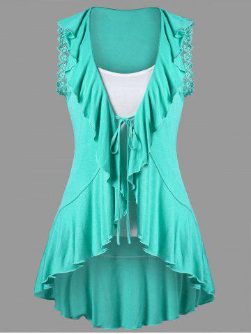 Fashion Ruffle Trim High Low T-shirt with Camisole MINT 2XL