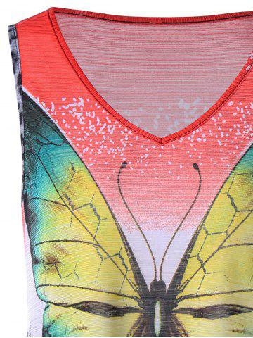 Best Leopard with Butterfly V Neck Sleeveless T-shirt - XL COLORMIX Mobile