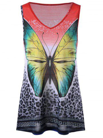Cheap Leopard with Butterfly V Neck Sleeveless T-shirt COLORMIX L