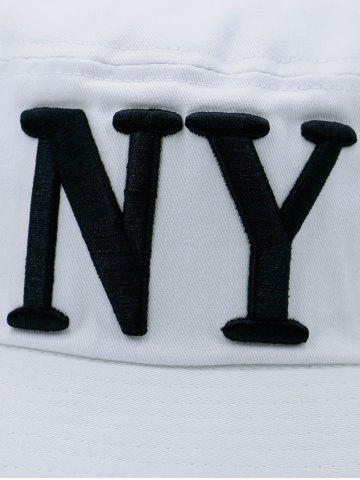 Unique Round Top Bucket Hat with Letters Embroidery - WHITE  Mobile