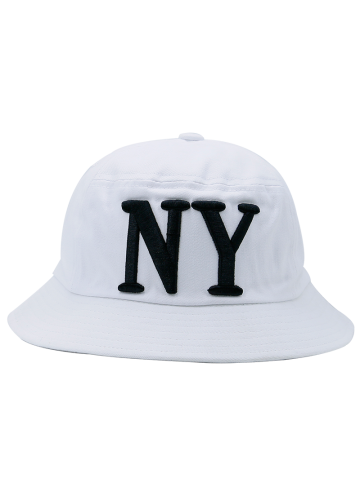 Discount Round Top Bucket Hat with Letters Embroidery WHITE