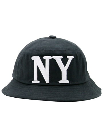 Unique Round Top Bucket Hat with Letters Embroidery - FULL BLACK  Mobile