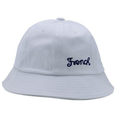 Cheap Round Top Letters Embroidered Bucket Hat WHITE