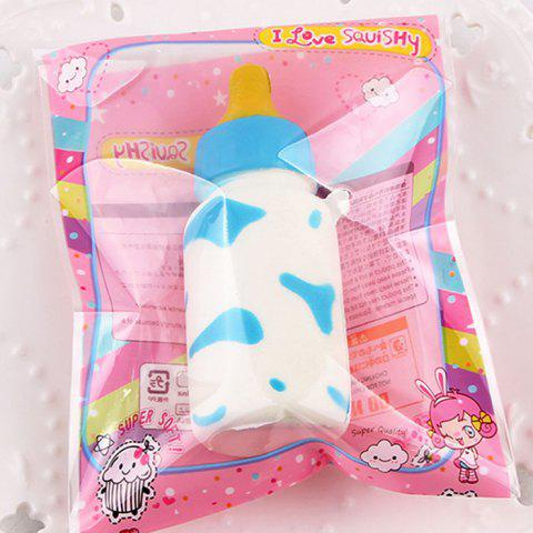 Best Anti Stress Milk Cow Print Feeding Bottle Squishy Toy BLUE