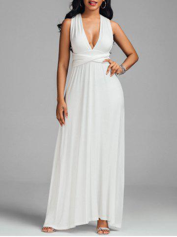 Outfit Convertible Floor Length Low Cut Party Formal Dress WHITE XL