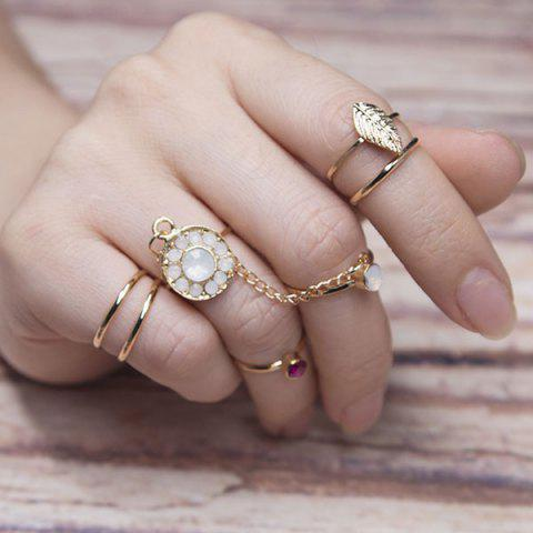Best Rhinestone Slave Leaf Finger Ring Set - GOLDEN  Mobile