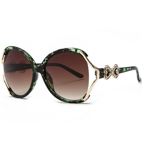 Fancy Two Tone Wide Tiny Bowkont Embellished Sunglasses - GREEN  Mobile