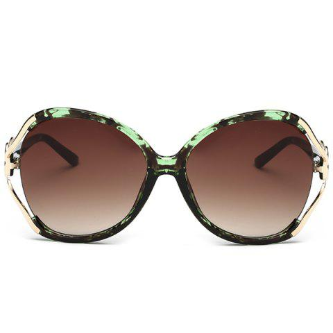 Fashion Two Tone Wide Tiny Bowkont Embellished Sunglasses - GREEN  Mobile
