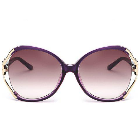Cheap Two Tone Wide Tiny Bowkont Embellished Sunglasses - PURPLE  Mobile