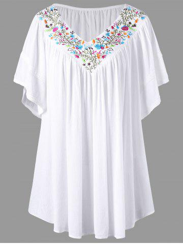 Embroidery V Neck Plus Size Blouse