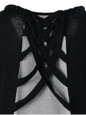Trendy Cap Sleeve Criss Cross High Low T-shirt - M BLACK AND GREY Mobile