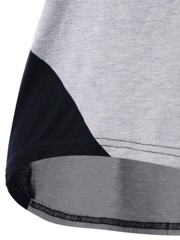 New Cap Sleeve Criss Cross High Low T-shirt - M BLACK AND GREY Mobile
