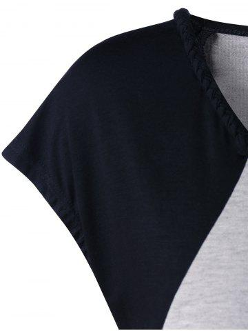Outfit Cap Sleeve Criss Cross High Low T-shirt - M BLACK AND GREY Mobile
