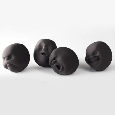 Affordable 4 Pcs Stress Reliver Squishy Toy Human Face Emoticon Balls - BLACK  Mobile