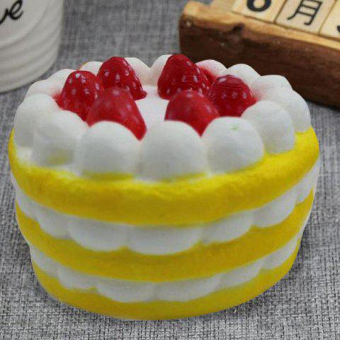 Fancy Slow Rising Simulation Strawberry Cream Cake Squishy Toy - YELLOW  Mobile