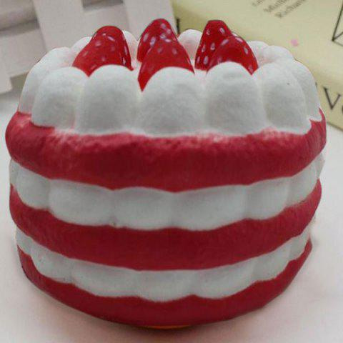 Fancy Slow Rising Simulation Strawberry Cream Cake Squishy Toy RED