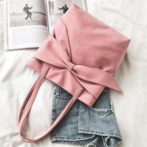 Outfits Faux Suede Bow Shoulder Bag - PINK  Mobile