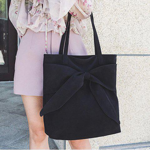 Faux Suede Bow Shoulder Bag - Black - 44