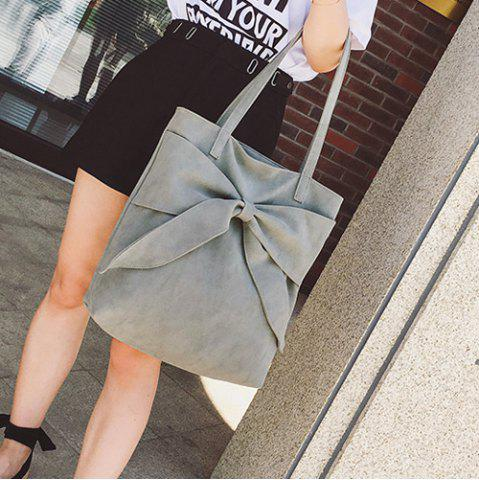 Outfits Faux Suede Bow Shoulder Bag - GRAY  Mobile