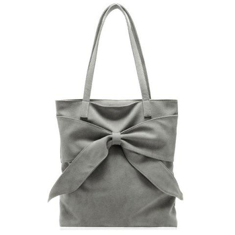 Online Faux Suede Bow Shoulder Bag GRAY