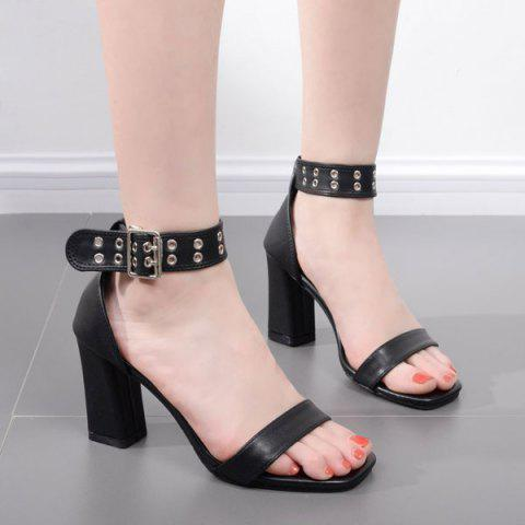 Best Faux Leather Eyelets Block Heel Sandals BLACK 40