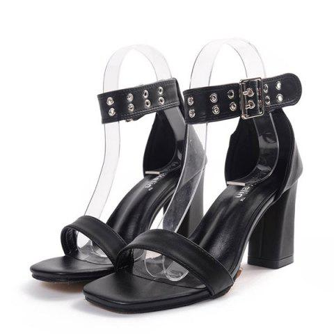 Store Faux Leather Eyelets Block Heel Sandals - 40 BLACK Mobile
