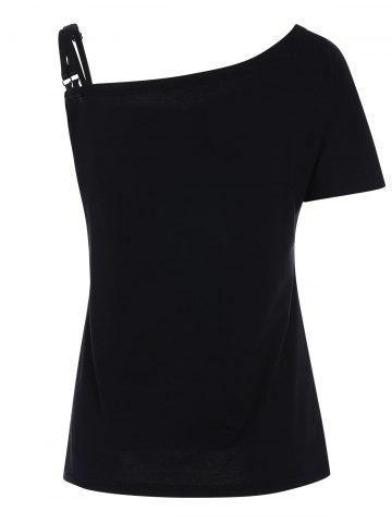 Outfits Dragonfly Print Skew Neck Tee - S BLACK Mobile