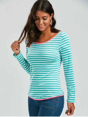 Latest Long Sleeve Bowknot Striped T-Shirt - S GREEN Mobile