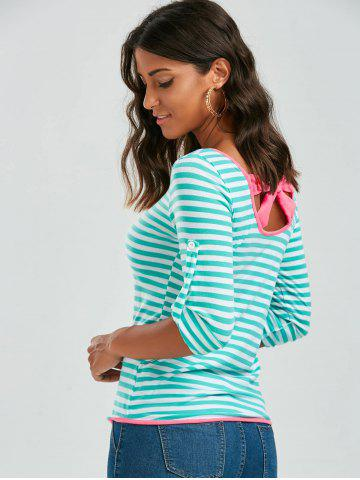 Outfits Long Sleeve Bowknot Striped T-Shirt - S GREEN Mobile